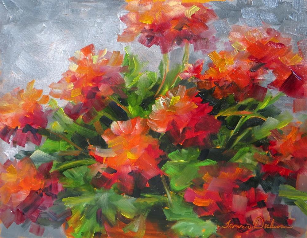 """Donna's Geraniums"" original fine art by Tammie Dickerson"