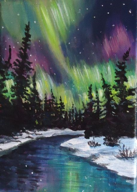 """Northern Lights Yukon"" original fine art by Jackie Irvine"