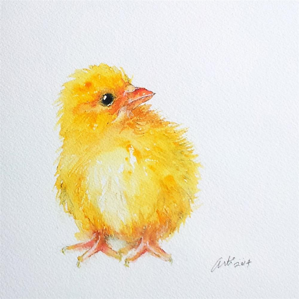 """Yellow Chick"" original fine art by Arti Chauhan"