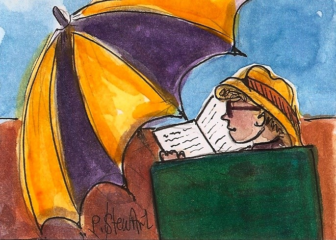 """ACEO Me Time Beach Umbrella Reading Book Hat Painting OOAK Penny StewArt"" original fine art by Penny Lee StewArt"