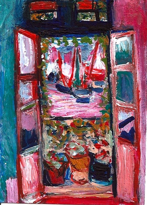 """ACEO Open Window in the style of Henri Matisse Acrylic SFA Penny StewArt"" original fine art by Penny Lee StewArt"