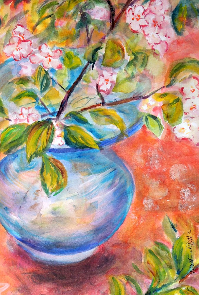 """Blue Vase Red Table"" original fine art by Mary Schiros"