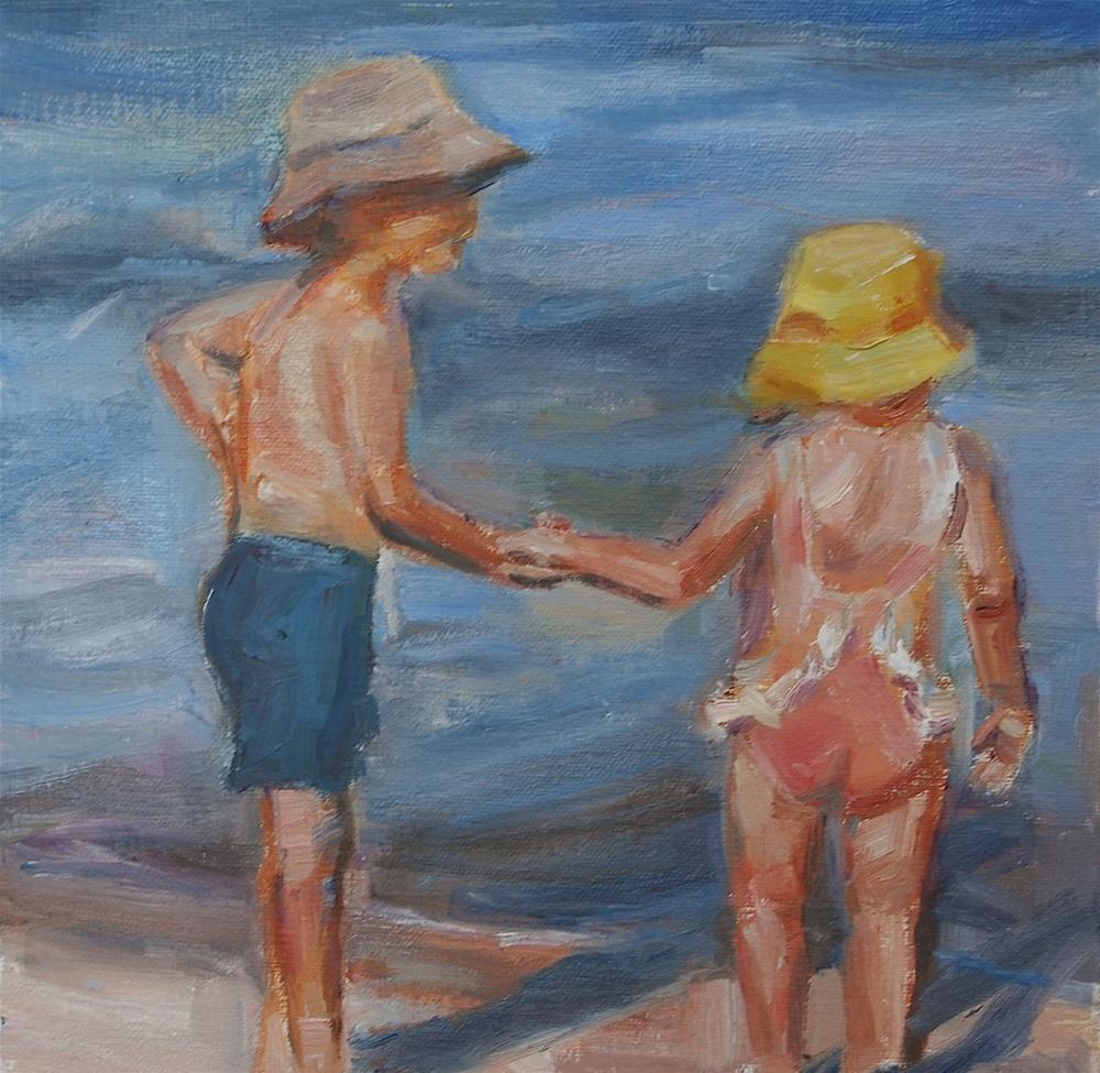 """Children at the Beach, Original Oil by Carol DeMumbrum"" original fine art by Carol DeMumbrum"
