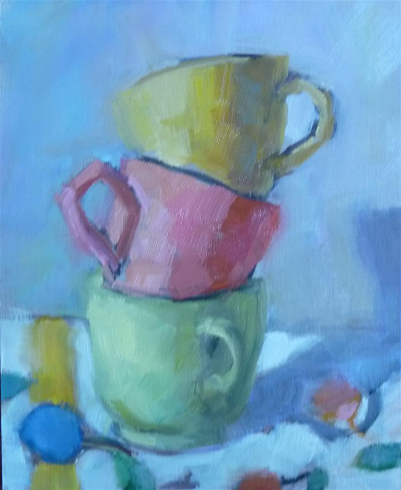 """3 Cups and a Tablecloth"" original fine art by Carol Josefiak"