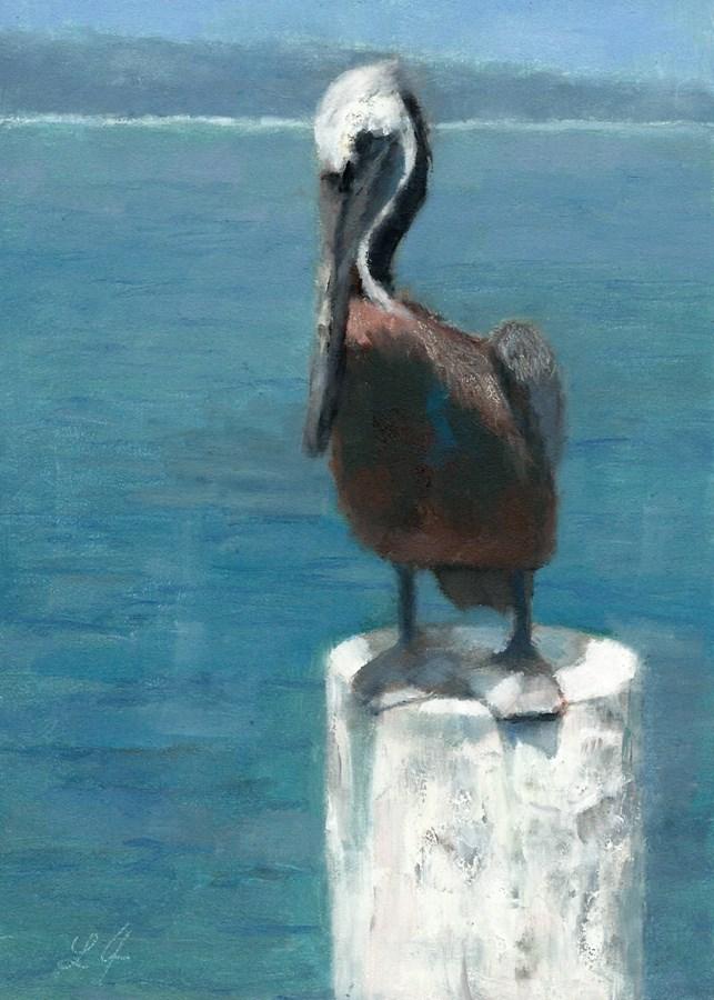 """Pelican Resting"" original fine art by Linda Jacobus"