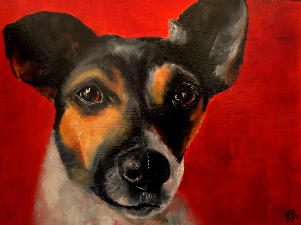 """Jack Russell on Red"" original fine art by Karen Robinson"