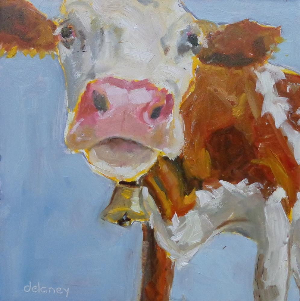 """Cow 80 BABY MAMA"" original fine art by Jean Delaney"