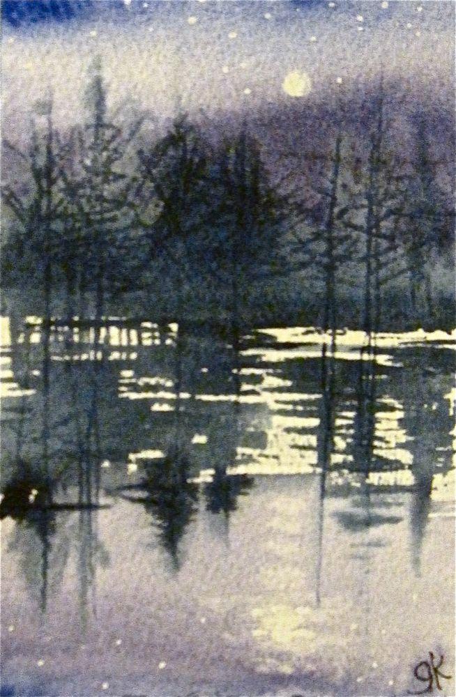Winter Moonrise by Gretchen Kelly, New York Artist original fine art by Gretchen Kelly
