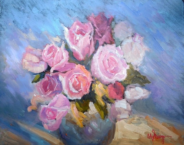 """Daily Painting, Small Oil Painting, Daily Art, Rose Painting, 8x10 Still Life, Rose Bowl by Carol"" original fine art by Carol Schiff"
