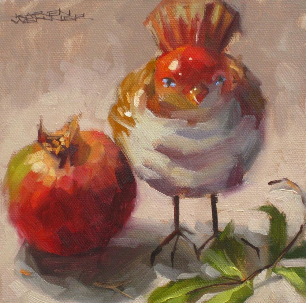 """Bird With Pomegranate"" original fine art by Karen Werner"