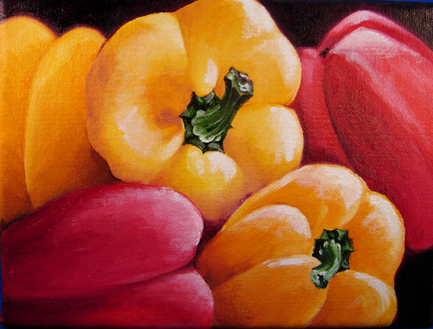 """Peppers 1"" original fine art by Elaine Lynest"