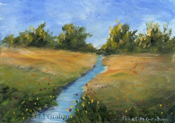 """Summer Stream ACEO"" original fine art by Janet Graham"