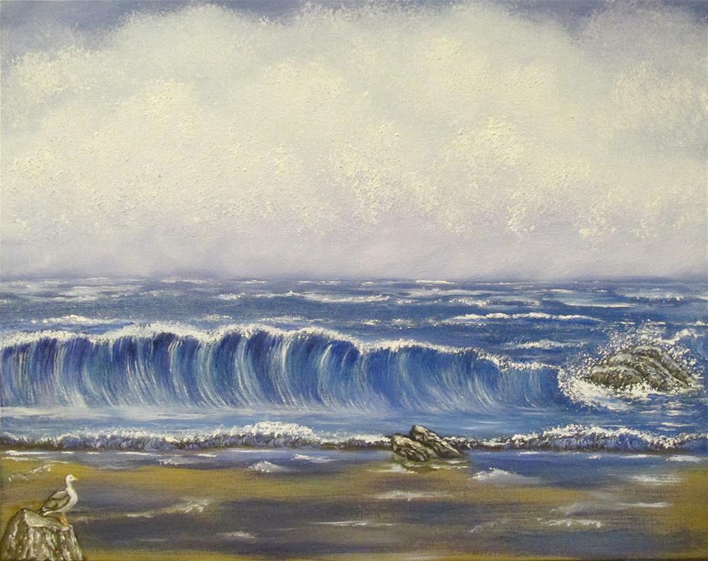 """Seascape 4"" original fine art by Mary Sylvia Hines"