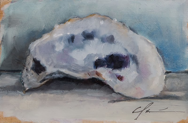 """Oyster Shell Still Life"" original fine art by Clair Hartmann"