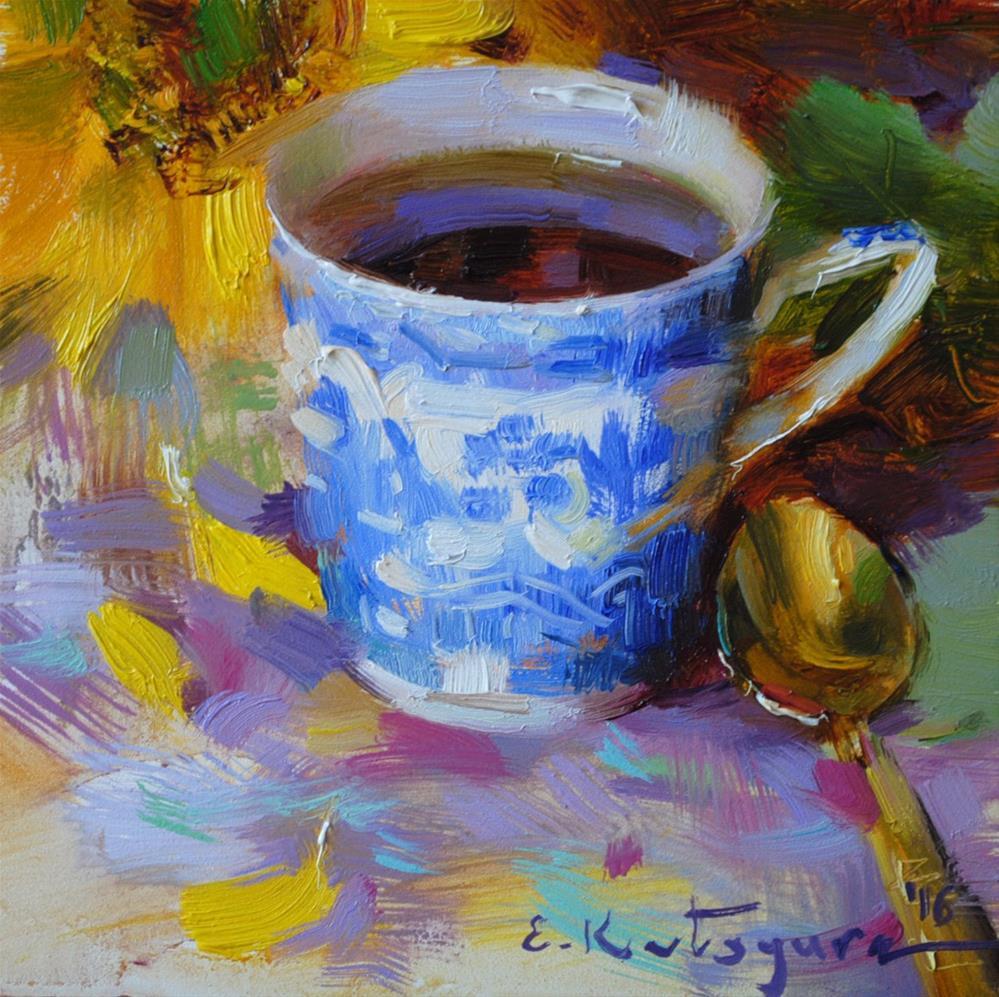 """Sunflower and Blue Cup"" original fine art by Elena Katsyura"