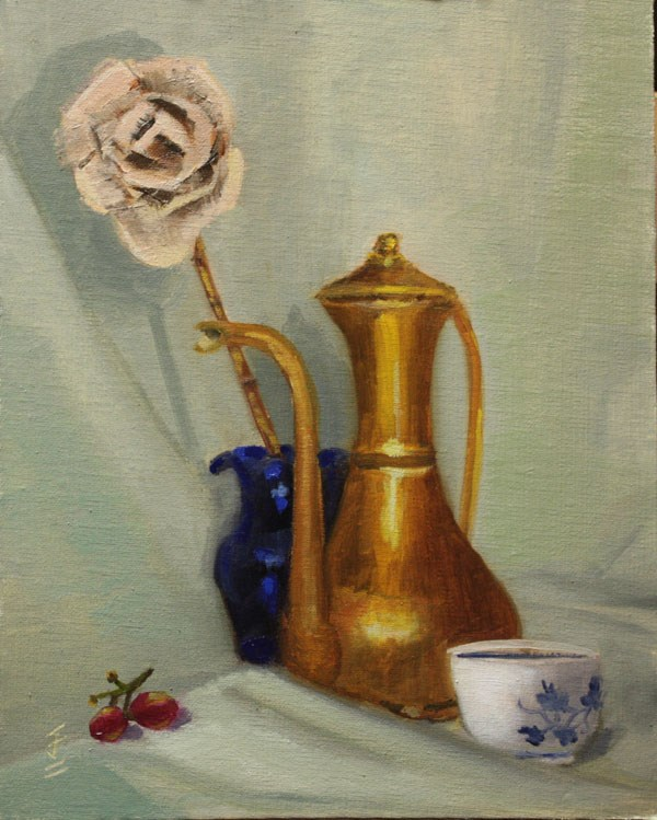 """Brass Teapot and Dried Rose"" original fine art by Jane Frederick"
