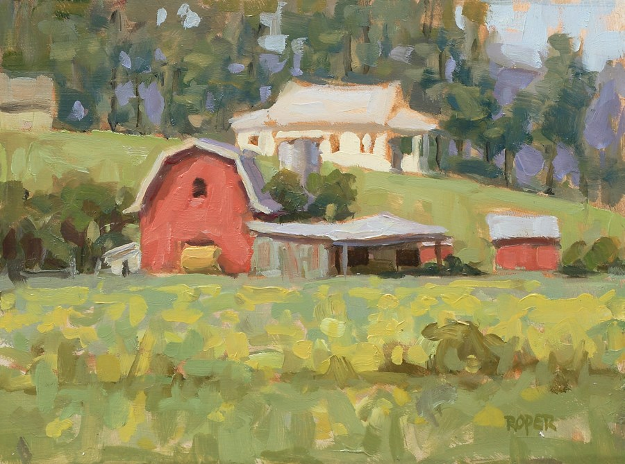 """DAY 27 #2:  Farm In Spring"" original fine art by Stuart Roper"