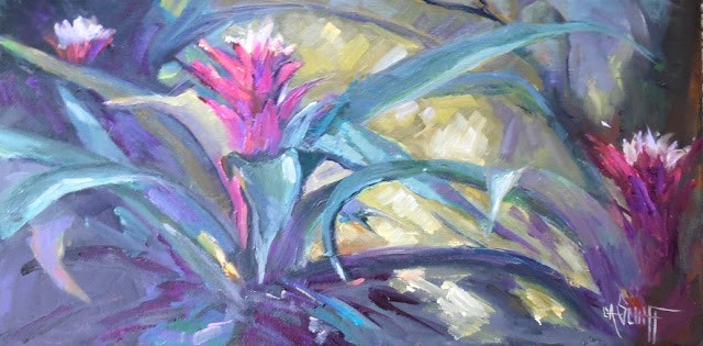 """Bromeliad Painting, Small Oil Painting, Garden Painting, Daily Painting, 8x16x.75 Oil"" original fine art by Carol Schiff"