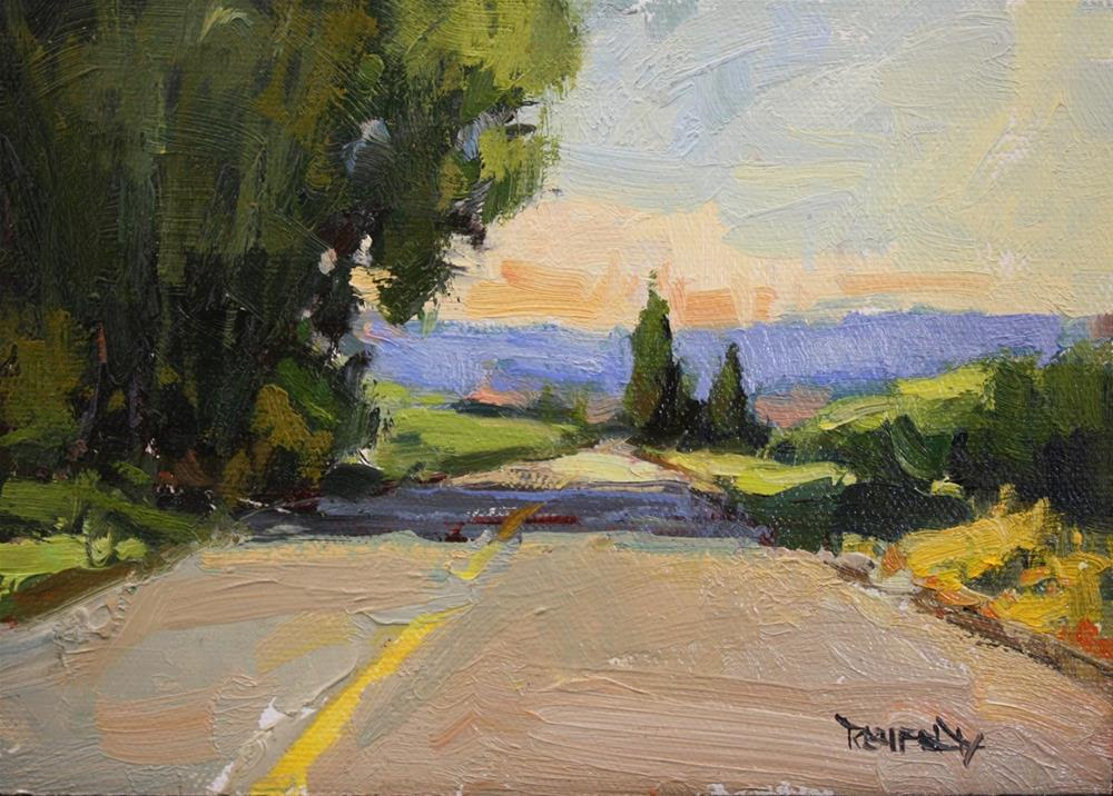 """Early Morning Farm Road"" original fine art by Cathleen Rehfeld"