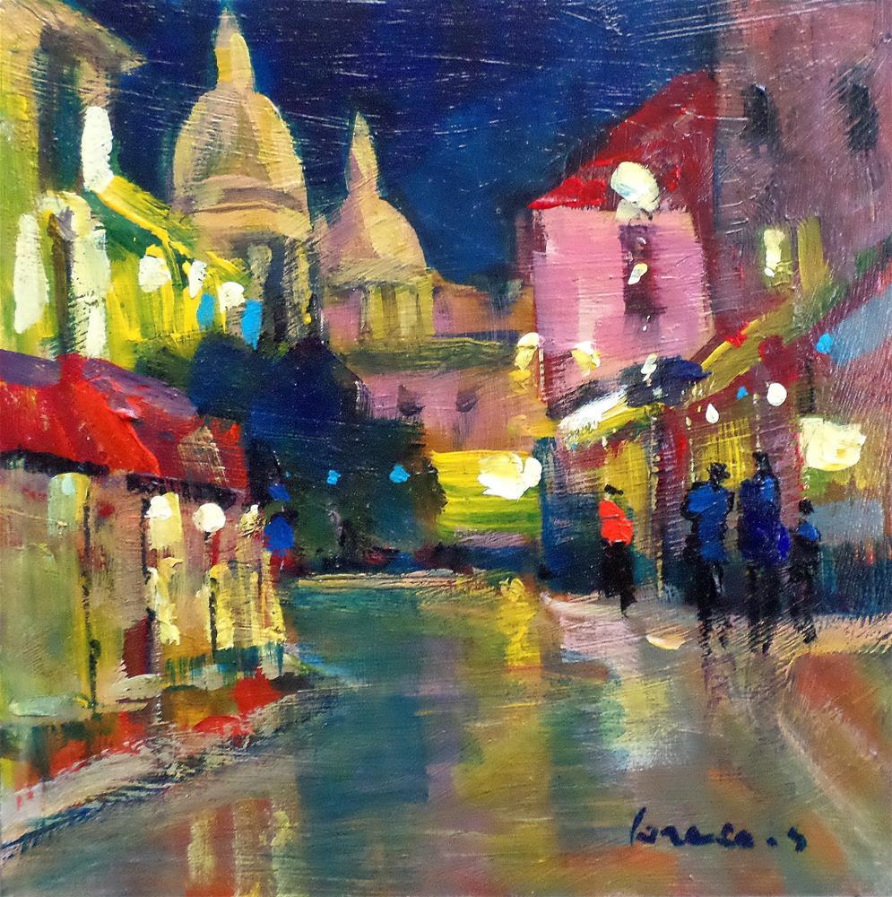 """Montmartre by night"" original fine art by salvatore greco"