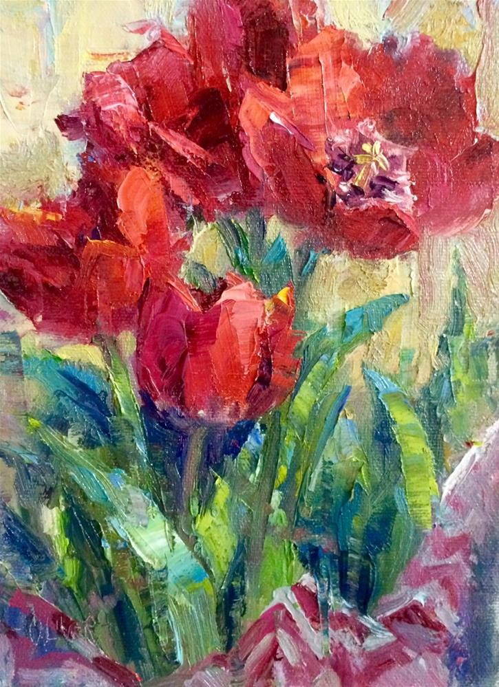 """Tulips From A friend"" original fine art by Julie Ford Oliver"