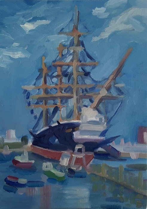 """HMS Warrior, Portsmouth"" original fine art by J M Needham"