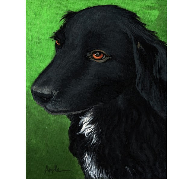 """Annie - black dog animal portrait"" original fine art by Linda Apple"