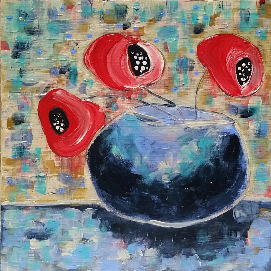 """Summer Poppies III"" original fine art by Christy Tremblay"