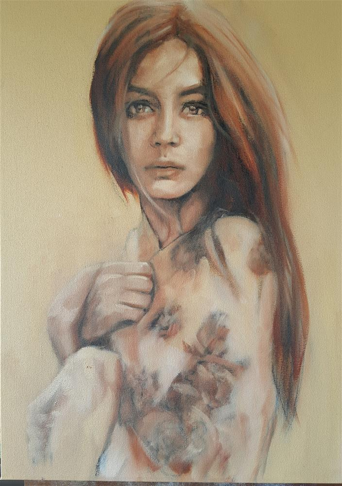 """Sepia girl"" original fine art by Rentia Coetzee"