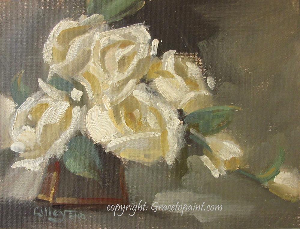 """Cream Puff Roses"" original fine art by Maresa Lilley"