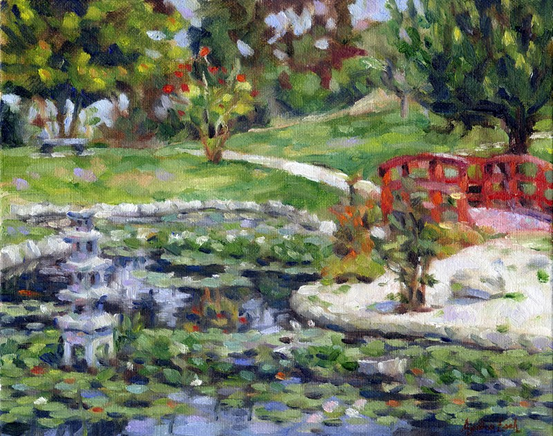 """Japanese Garden at Kenneth Hahn Park"" original fine art by Audra Esch"