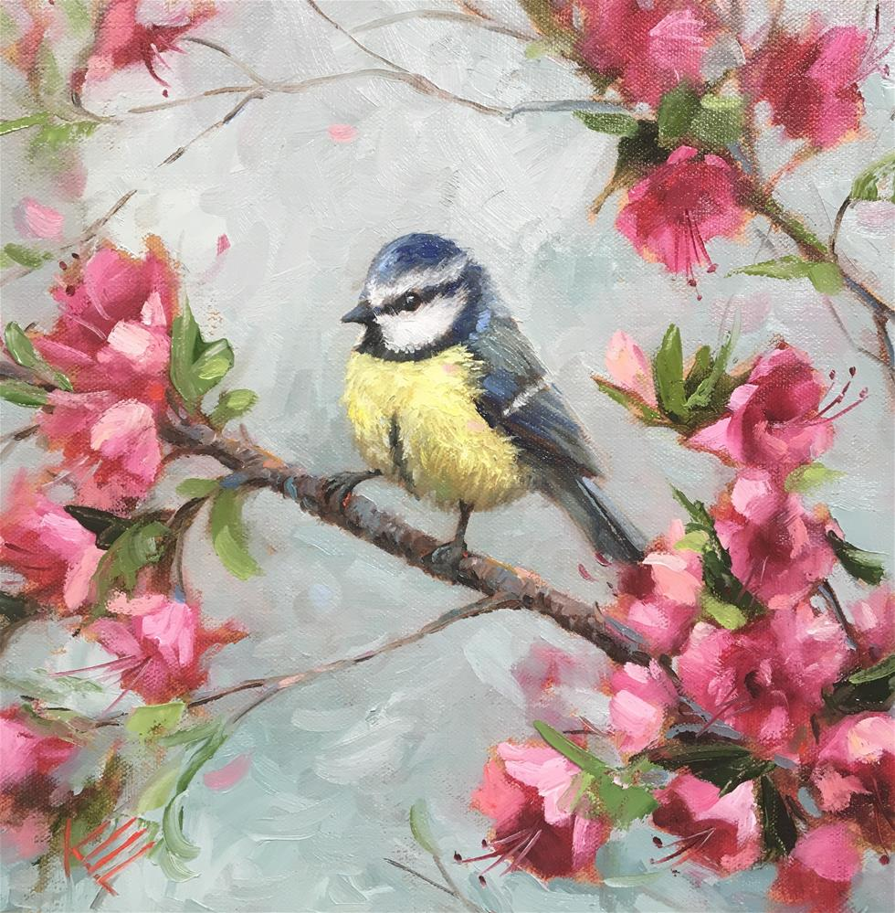 """Blue Tit & Blossoms"" original fine art by Krista Eaton"