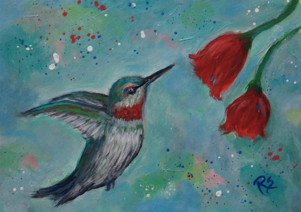 """""""Summer Hummingbird"""" original fine art by Roberta Schmidt"""