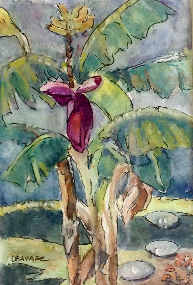 """Banana Trees"" original fine art by Judy Usavage"