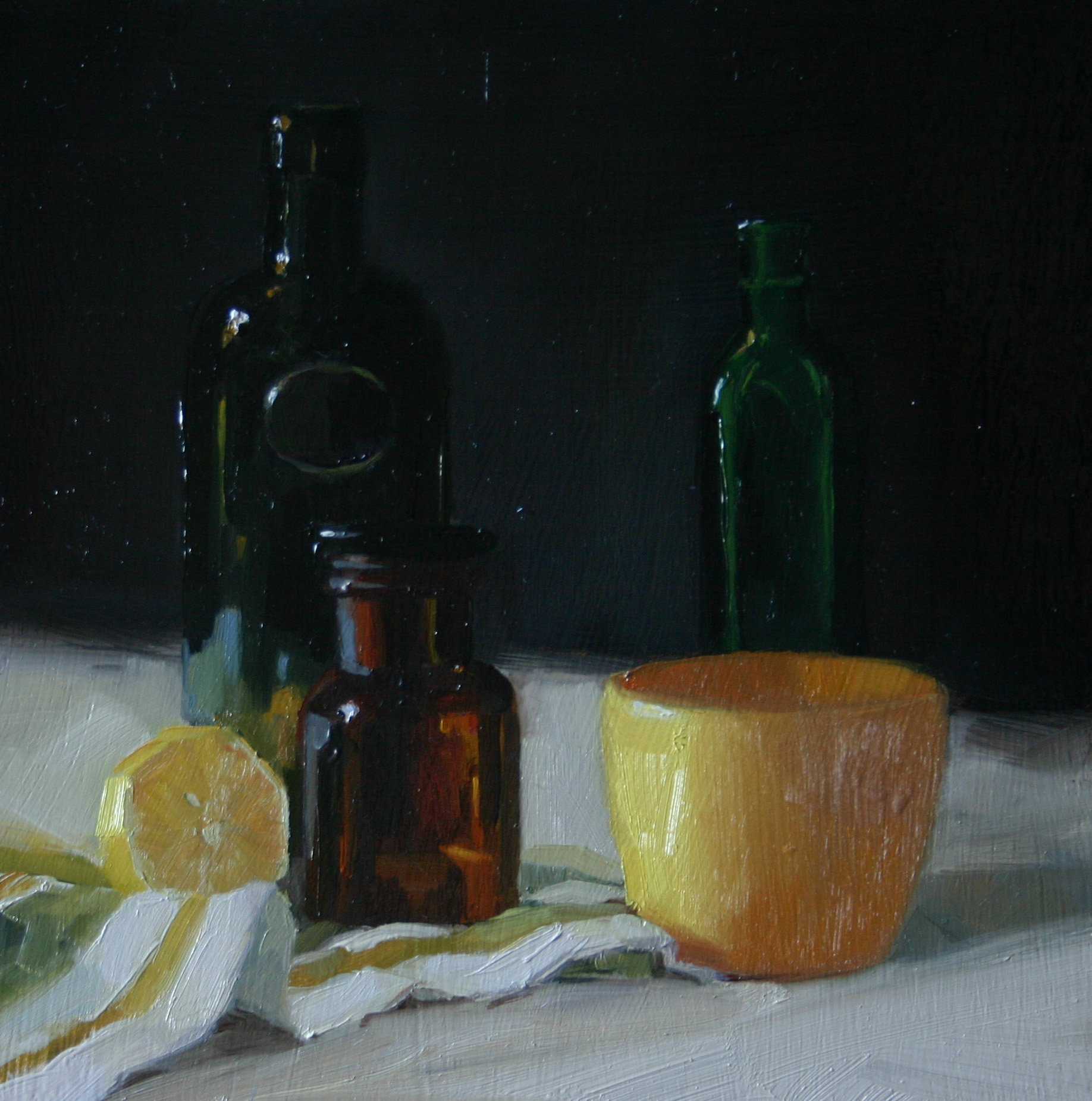 """Citrus, Bottles and Pot"" original fine art by Liz Balkwill"