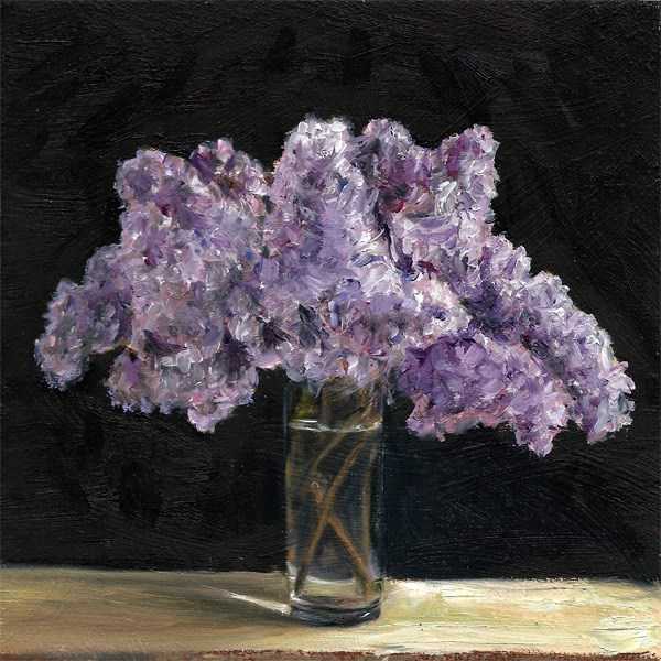 """Lilacs in a glass"" original fine art by Peter J Sandford"