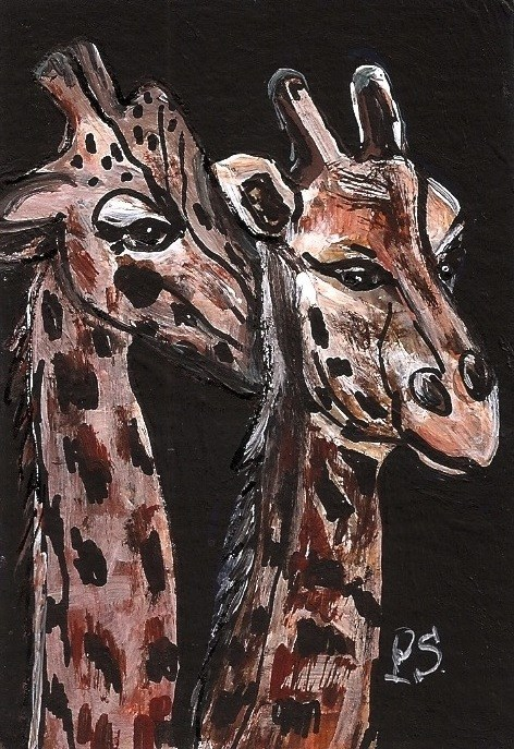 """ACEO The Kiss on the Neck Two Giraffes Acrylic Miniature Original Penny StewArt"" original fine art by Penny Lee StewArt"