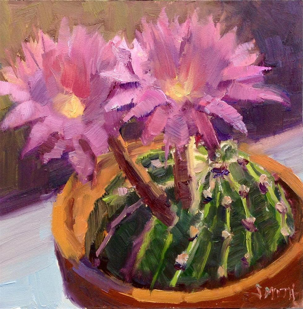 """Cactus Bloom"" original fine art by Barbie Smith"