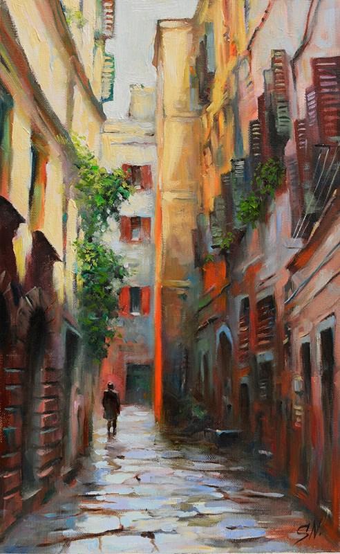 """""""Dark alley, Italian street scene, cityscape oil painting on canvas"""" original fine art by Nick Sarazan"""