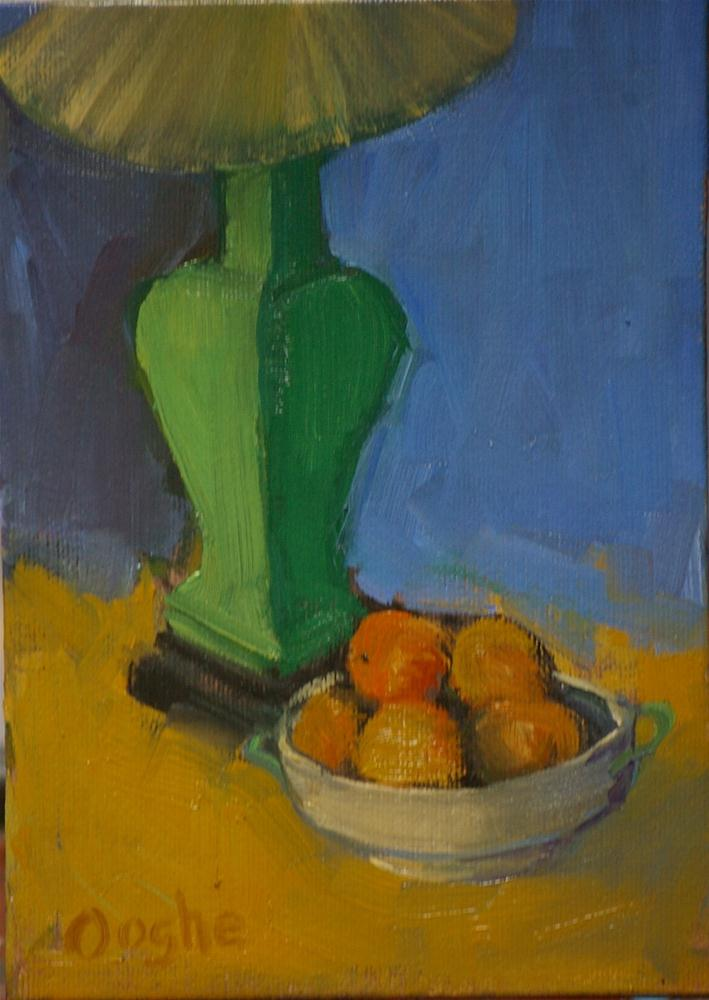 """Green lamp with Oranges"" original fine art by Angela Ooghe"