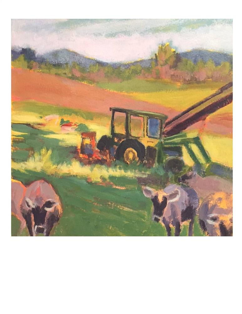 """""""Jersey Girls And Tractor"""" original fine art by Suzanne Woodward"""