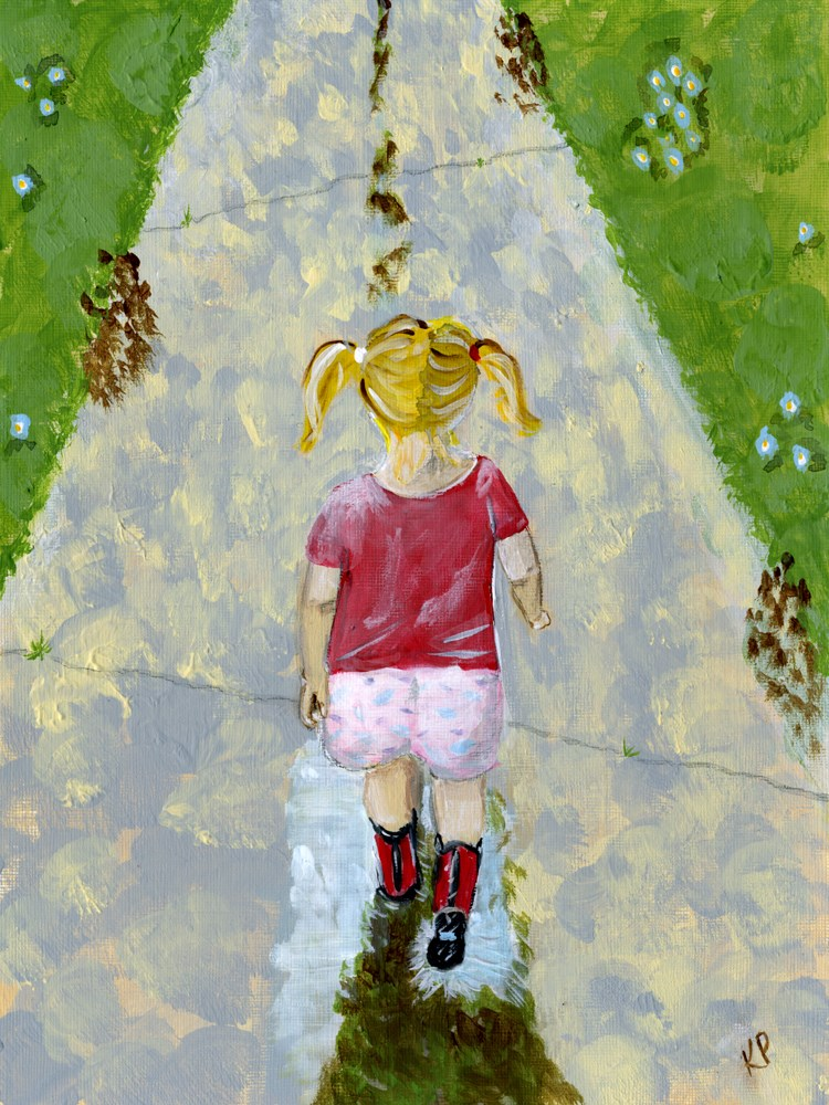 """Puddles and Pigtails 1"" original fine art by Kali Parsons"