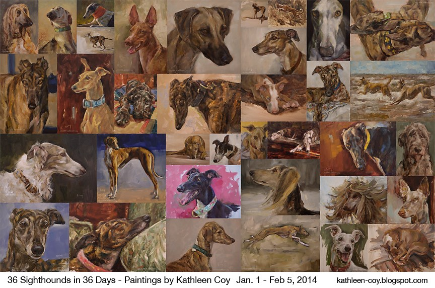 """""""36 Sighthound Paintings in 36 days"""" original fine art by Kathleen Coy"""
