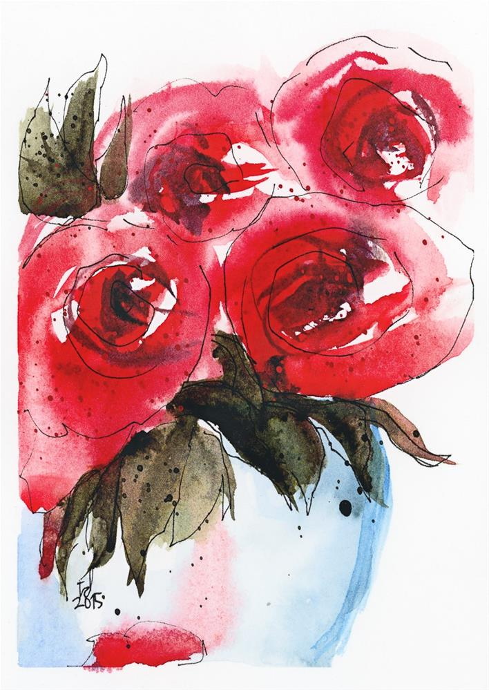 """Red Roses"" original fine art by Tonya Doughty"