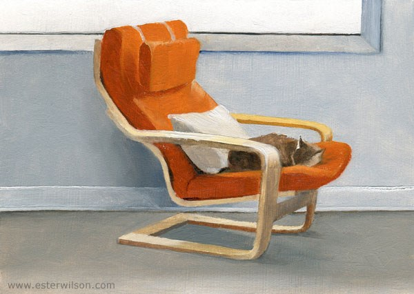 """""""Chair and Kitty"""" original fine art by Ester Wilson"""