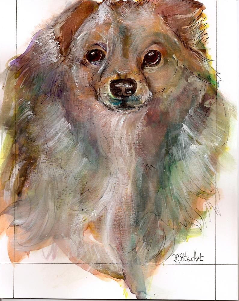 """""""8x10 Heidi's Dog, Watercolor and Gouache Pet Portrait by Penny Lee StewArt"""" original fine art by Penny Lee StewArt"""