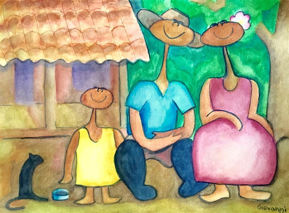 """Peasants' family ('familia campesina')"" original fine art by Giovanni Antunez"