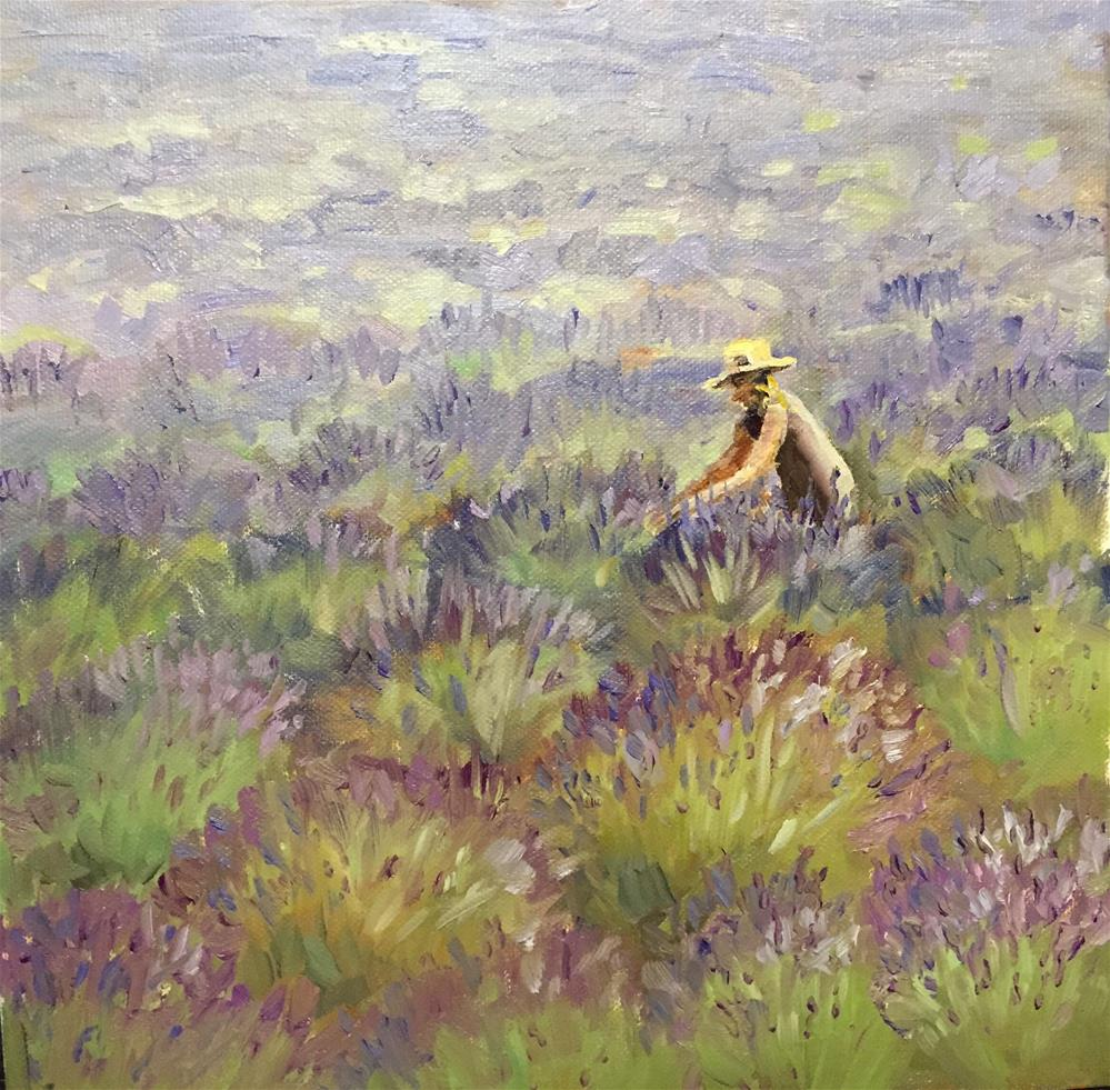 """Gathering lavender"" original fine art by Natasha Ramras"