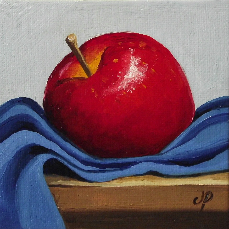 """Red Delicious on Blue"" original fine art by Jane Palmer"