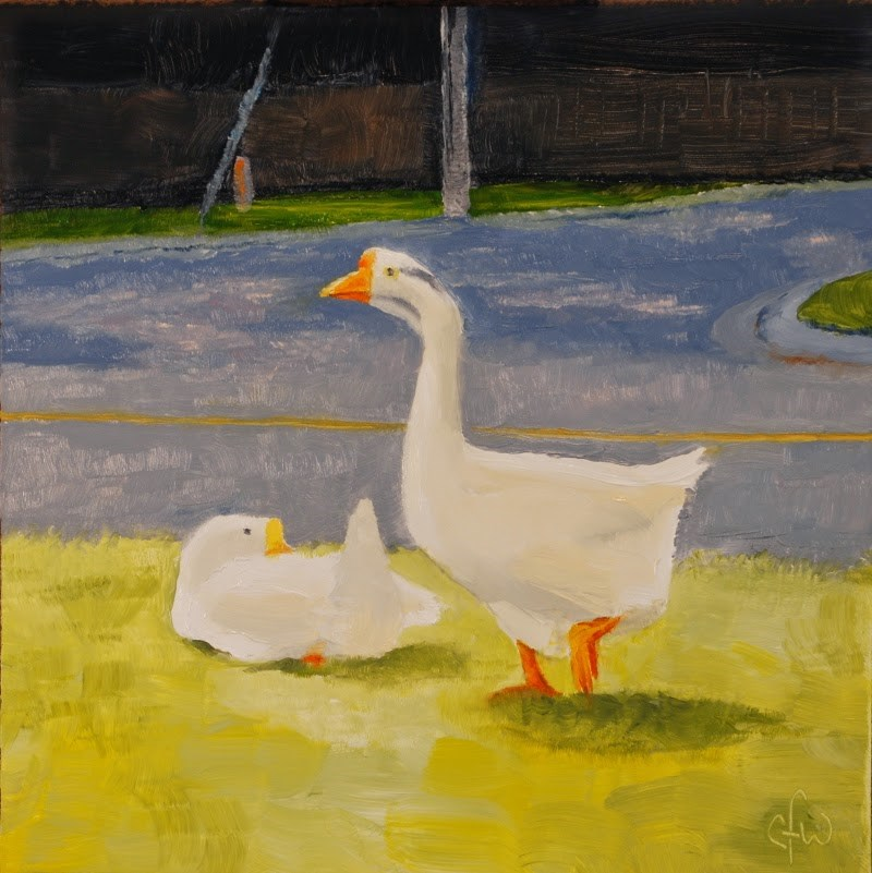 """Two Geese by the Road"" original fine art by Gary Westlake"
